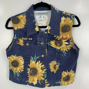 Made in the Shade Vintage Sunflower Jean Vest